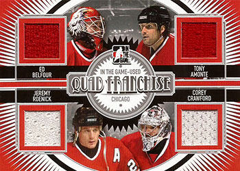 ED BELFOUR /TONY AMONTE /JEREMY ROENICK /COREY CRAWFORD Memorabilia Hockey Card