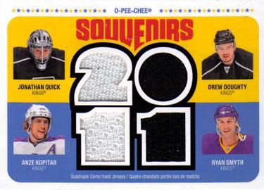 JONATHAN QUICK /DREW DOUGHTY /ANZE KOPITAR /RYAN SMYTH Memorabilia Hockey Card