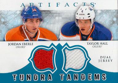 JORDAN EBERLE /TAYLOR HALL Memorabilia Hockey Card