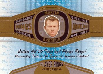 MARTIN BRODEUR Memorabilia Hockey Card