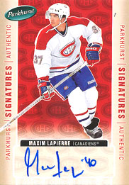 MAXIM LAPIERRE Memorabilia Hockey Card