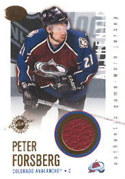 PETER FORSBERG Memorabilia Hockey Card